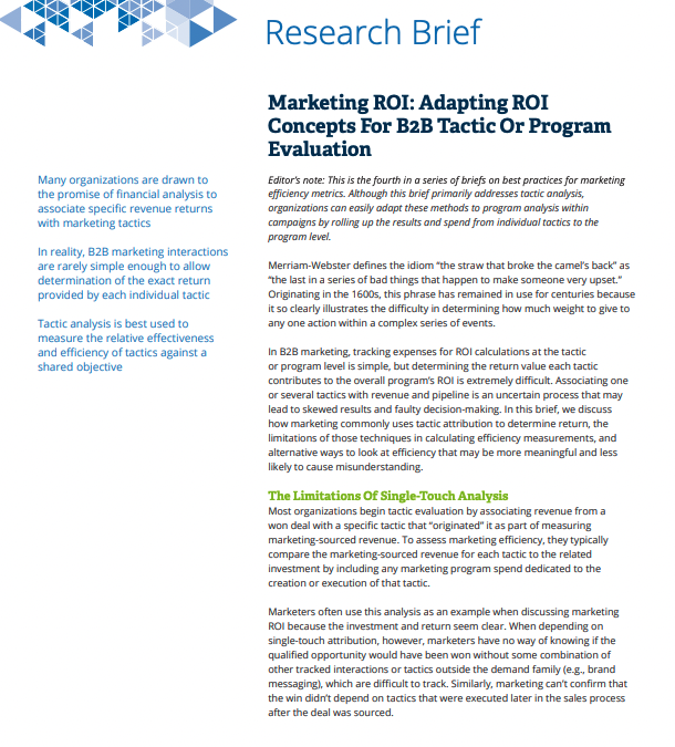 Research Brief: Marketing ROI: Adapting ROI Concepts For B2B Tactic Or Program Evaluation