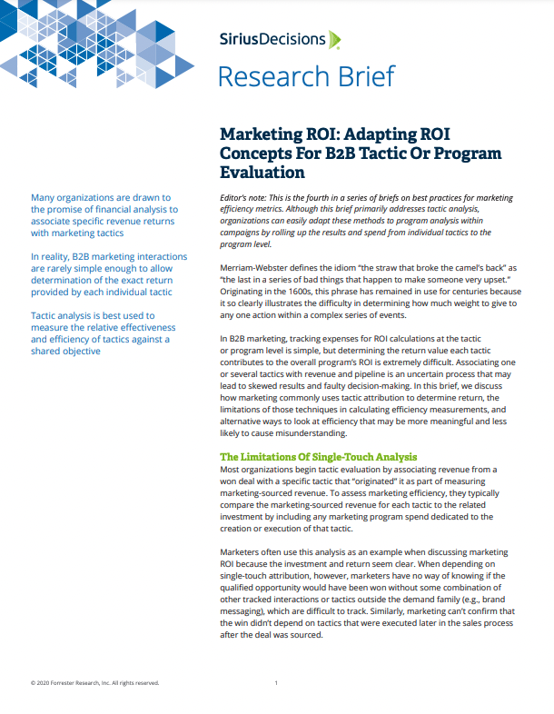 Marketing ROI: Adapting ROI Concepts For B2B Tactic Or Program Evaluation