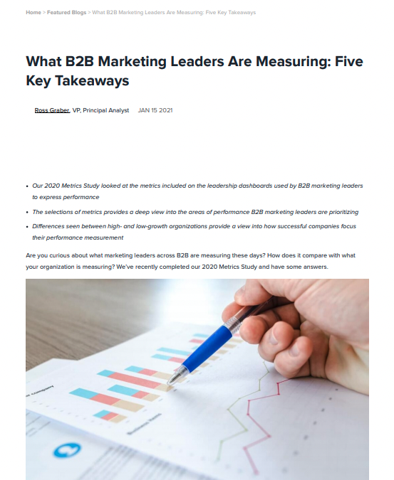 Research Brief: What B2B Marketing Leaders are Measuring: Five Key Takeaways